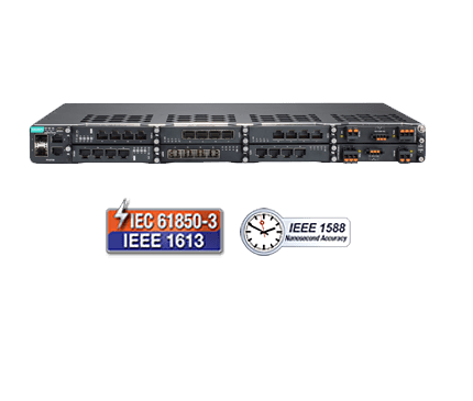 IEC 61850-3 28-port layer 3/2 full Gigabit modular managed Ethernet switch